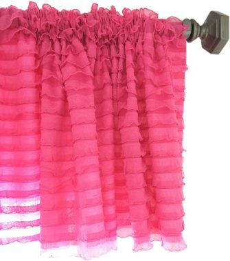 A Vision to Remember Hot Pink Sheer Ruffle Valance Extra Wide Window Treatment