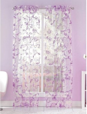 Ribbon Trim Floral Sheer Curtain Panel