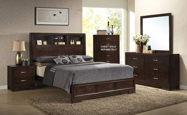 Roundhill Furniture Montana Modern 5-Piece Wood Bedroom Set with Bed, Dresser, Mirror, 2 Nightstands, Queen, Walnut