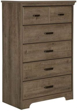South Shore Versa Collection 5-Drawer Dresser, Weathered Oak with Antique Handles