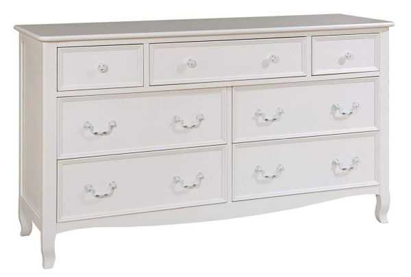 Bolton Furniture 8320500 Emma French-Inspired 7 Drawer Dresser, White