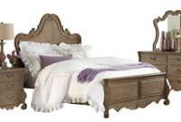Capels Traditional 5 Piece Queen French Provincial Bedroom Set in Weathered Brown Oak - Bed, Nightstand, Dresser & Mirror, Chest