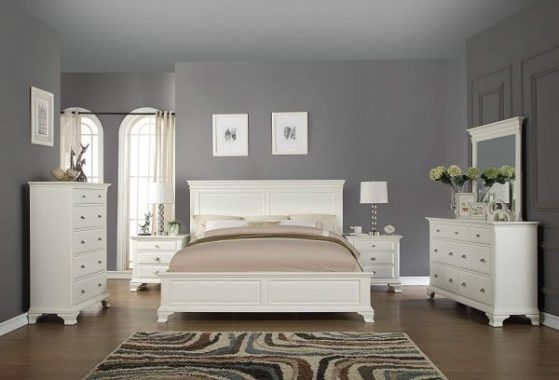 Roundhill Furniture Bedroom Furniture Bed Dresser King White
