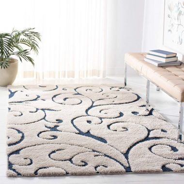 Safavieh Florida Shag Collection SG455-1165 Scrolling Vine Cream and Blue Graceful Swirl Area Rug