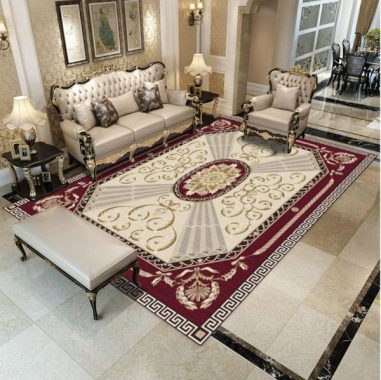 Simmia Home Modern Area Rugs European Classical red Cream 140200CM for Indoor Floor Living Room Kitchen Bedroom Bathroom Colorful Rugs Non-Slip Healthy Carpets
