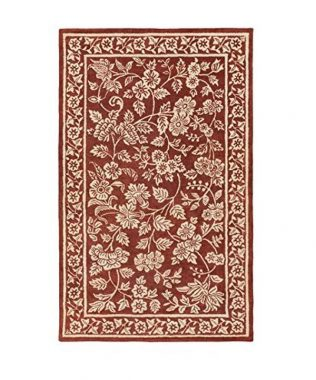 Victorian Delight Lipstick Red and Cream Hand Tufted Wool Area Throw Rug