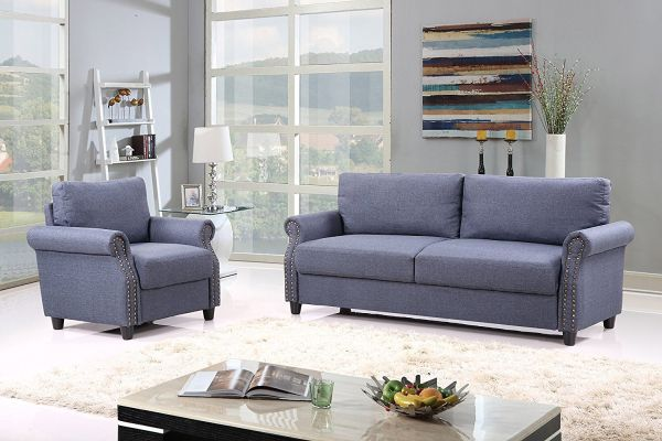 2 Piece Classic Linen Fabric Living Room Sofa and Armchair Furniture Set with Nailhead Trim Blue