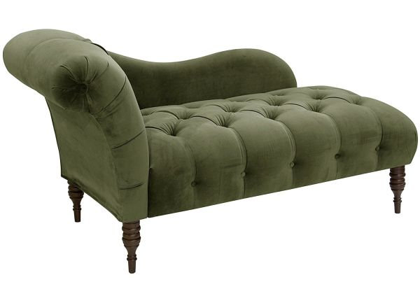 Apartment Therapy Tufted Chaise in Regal Velvet Moss