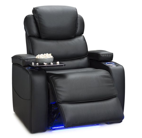 Barcalounger Columbia Leather Gel Power Recliner with Adjustable Powered Headrests, In-Arm Storage, and USB Charging, Black
