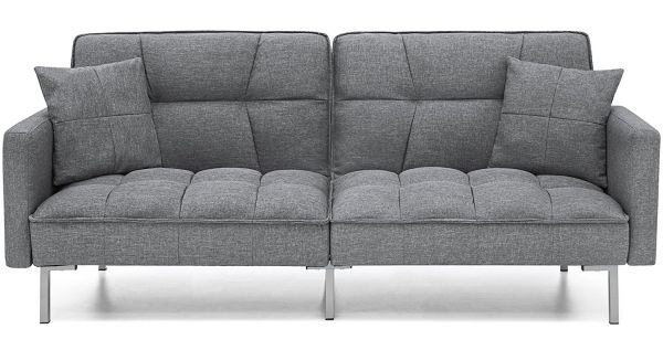 Best Choice Products Convertible Futon Linen Tufted Split Back Couch W Pillows Dark Gray