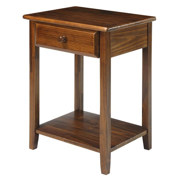 Casual Home 647-24 Night Owl Nightstand with USB Ports-Warm Brown