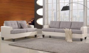 Classic 2 Tone Linen Fabric and Bonded Leather Sofa and Loveseat Living Room Set