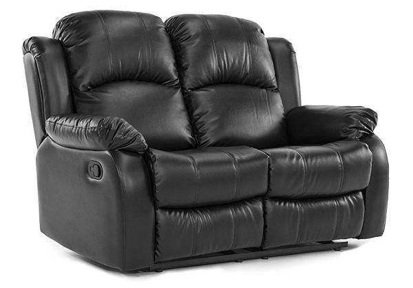 Classic Double Reclining Loveseat Bonded Leather Living Room Recliner Black