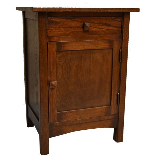 Crafters and Weavers Arts and Crafts Mission Nightstand End Table Made With Solid Oak