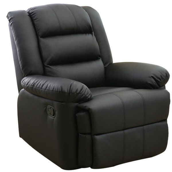 Dland Luxurious Home Theater Seating Recliner Chair Compact Manual Leather Reclining Sofa Living Room Chairs, Black 8002