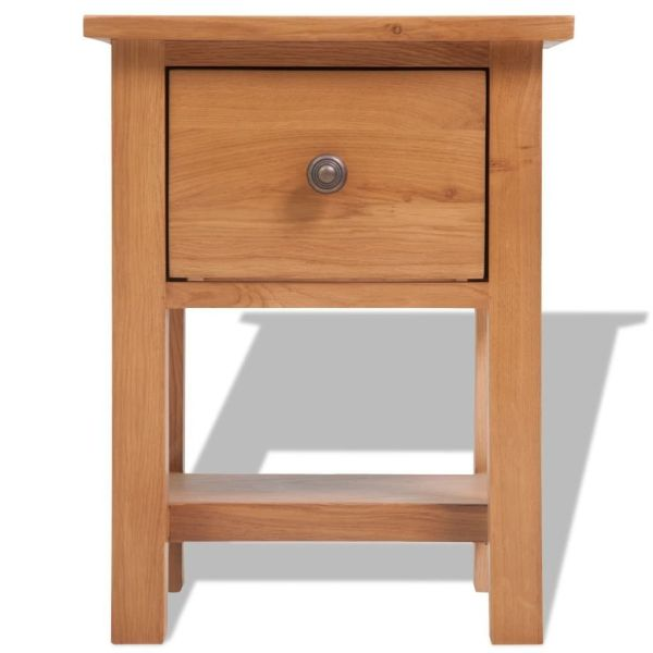 Festnight End Table Nightstand Solid Oak Brown