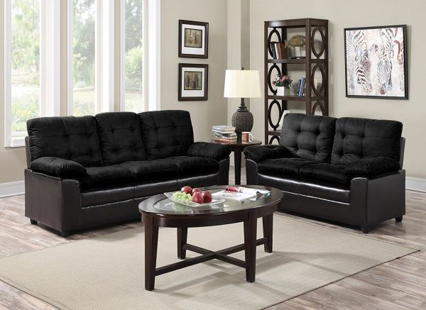 GTU Furniture 2-Tone Microfiber Sofa & Loveseat Set, 5 Colors Available Black