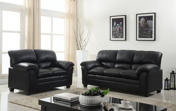 GTU Furniture New Faux Leather Sofa and Loveseat Living Room Furniture Set Black