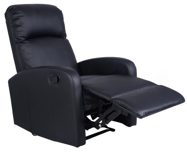 Giantex Manual Recliner Chair Black Lounger Leather Sofa Seat Home Theater