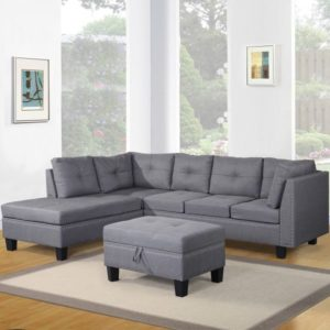 Harper Bright Designs Contemporary 3 Piece Sectional Sofa Set with Ottoman and Chaise Lounge Grey Linen Fabric Grey