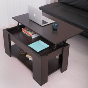 JAXPETY Lift up Top Coffee Table with Under Storage Shelf Modern Living Room Furniture Walnut
