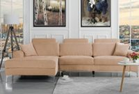 Modern Large Linen Fabric Sectional Sofa L-Shape Couch with Extra Wide Chaise Lounge Champaign