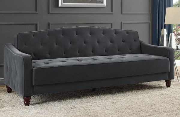 Novogratz Vintage Tufted Sofa Sleeper II Grey Velour