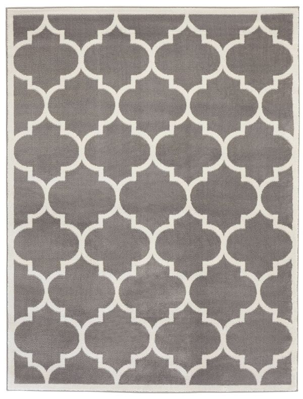 Ottomanson Paterson Collection Contemporary Moroccan Trellis Design Lattice Area Rug Grey