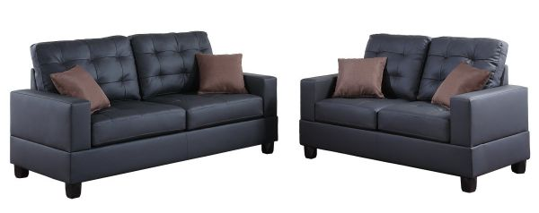 Poundex F7855 Bobkona Aria Faux Leather 2 Piece Sofa and Loveseat Set Black