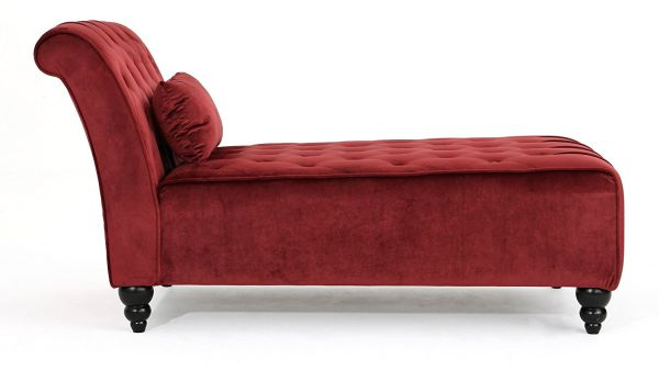 Rafaela Tufted New Velvet Chaise Lounge Garnet