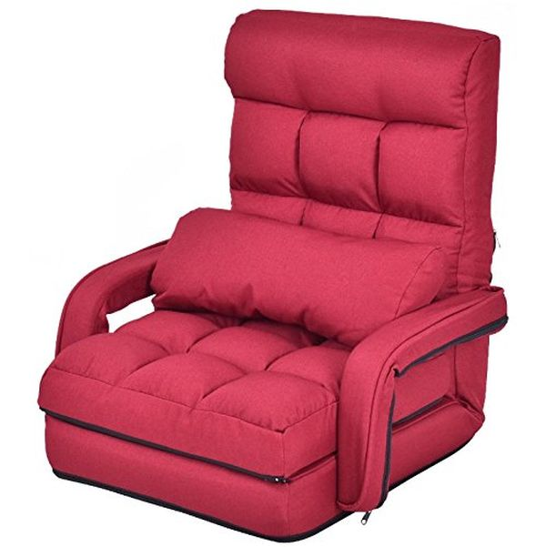 Red Folding Lazy Sofa With Armrests Pillow Floor Chair Detachable Sofa Lounger Bed Durable Steel Frame Home Office Living Room Dorm Room Studio Apartment Space Saving Furniture 5 Angles A