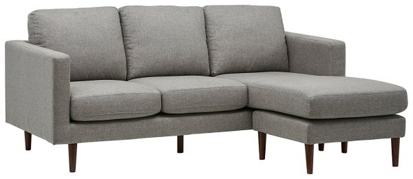 Rivet Revolve Modern Reversible Chaise Sectional 80W Grey Weave