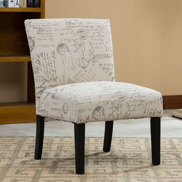 Roundhill Furniture Botticelli English Letter Print Fabric Armless Contemporary Accent Chair Single