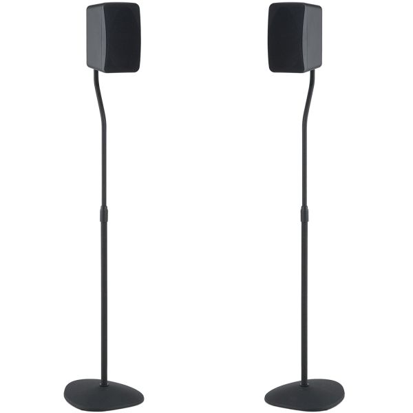 SANUS Adjustable Height Speaker Stand - Extends 28 to 38 - Holds Satellite small Bookshelf Speakers i.e. Bose, Harmon Kardon, Polk, JBL, KEF, Klipsch, Sony and others - Set of 2 - Model