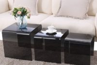SUNCOO Glass Coffee Table Set of 3 End Side Table Living Room Table Sets Black