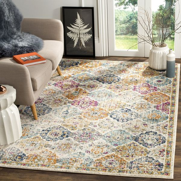 Safavieh Madison Collection MAD611B Bohemian Vintage Cream and Multi Area Rug
