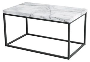 Tilly Lin Modern Accent Faux Marble Top Coffee Table for Living Room Black Metal Frame Carrara