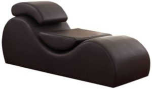 US Pride Furniture Faux Leather Deluxe Stretch Chaise Relaxation and Yoga Chair with Removable Pillows Dark Brown