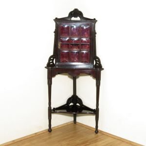 1910 Antique Edwardian Dark Mahogany Corner Cabinet