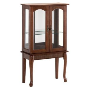 Birch Veneer Simply Elegant Wood Glass Curio Cabinet