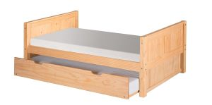Camaflexi Platform Bed with Trundle and Panel Headboard, Natural Finish