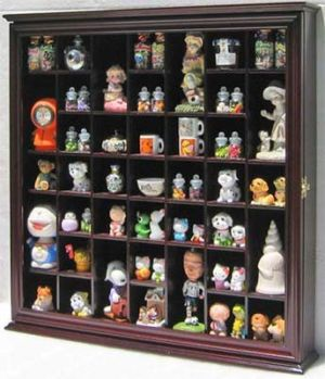 Collectible Display Case Wall Curio Cabinet Shadow Box, Solid wood, glass door Cherry Finish