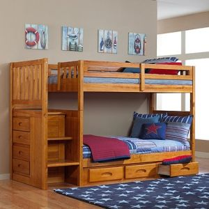 Discovery World Furniture Honey Mission Staircase Bunk Bed Twin Twin with 3 Drawers on One Side