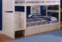 white bunk beds with stairs and drawer storage