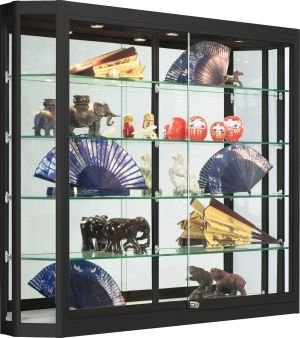 Displays2go LED Retail Case for Wall Mount, Tempered Glass Shelves, 3 LED Top Lights – Black