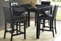 Dorel Living Dorel Living Andover Faux Marble Counter Height Dining Set, Black