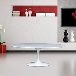 Fine Mod Imports FMI10080-white Flower Marble Table Oval, White