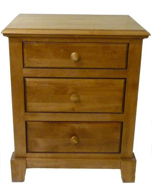 Forest Designs Shaker 3 Drawer Nightstand, 25W x 30H x 18D, Golden Oak