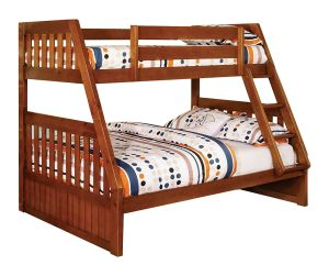 Furniture of America Grisham Bunk Bed, Twin Over Full, Oak