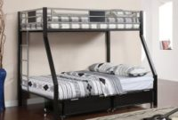 Furniture of America Restione Twin Over Full Bunk Bed, Silver and Black Finish